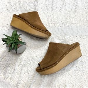Urban Outfitters tan/brown suede wedge sandals